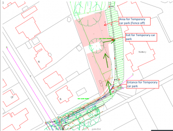 Plan of temporary car park