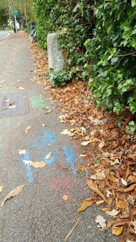 Highway stone and blue paint, Warneford Lane