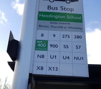 Bus stop showing X8 bus route