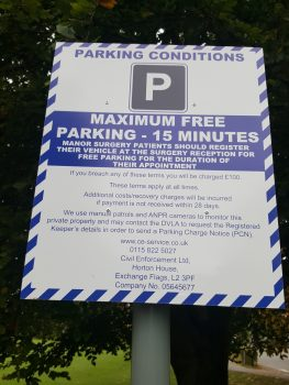 Manor Surgery parking notice