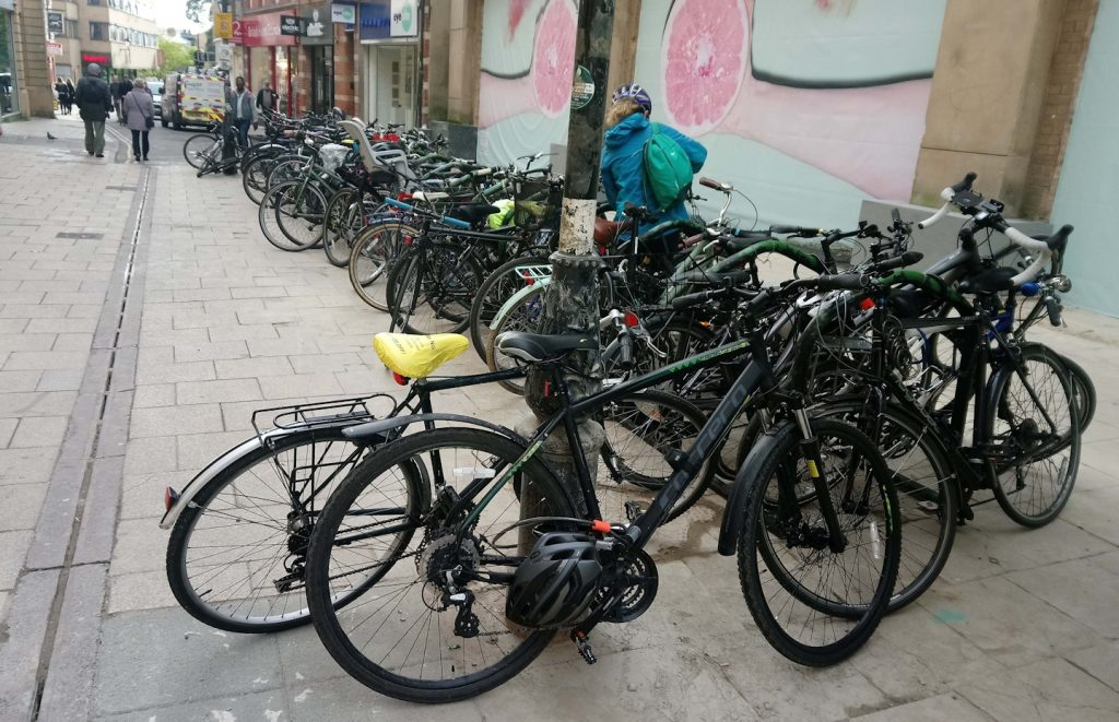 Temporary bike parking in St Ebbe's, 28 October