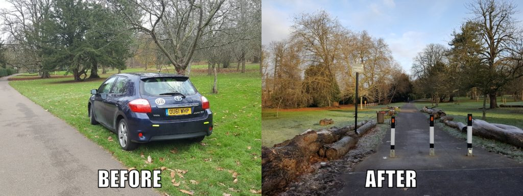 before and after the bollards