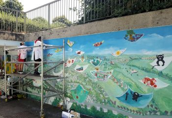 Mural painting in progress